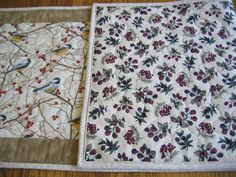 Quilted Table Runner in Chickadees and Red by NowthenDesign