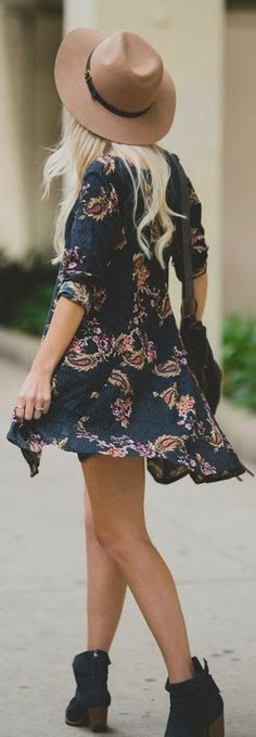 summer spring outfits womens fashion clothes style apparel clothing closet ideas short black dress brown hat