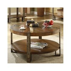 Riverside Furniture Sierra Round Cocktail Table in Distressed Landmark Worn Oak - 3405 - Accent Tables - Decor Round Wooden Coffee Table, Rustic Coffee Tables, Cool Coffee Tables, Round Coffee Table, Coffee Table With Storage, Wooden Tables, Table Furniture, Home Furniture, Furniture Ideas