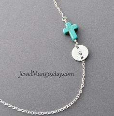 Turquoise cross initial necklace, Turquoise necklace, monogram, unique Jewelry, cross jewelry. sideway cross, horizontal cross on Etsy, $21.90