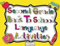Second Grade Back to School Language Activities