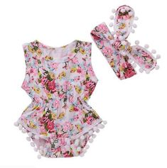 e4bb7051f8fb4 2PCS Newborn Baby Girls Floral Headband+Bodysuit Jumpsuit Romper Summer  Clothes Baby Girl Newborn,