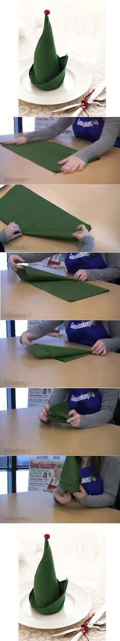 How to make an elf hat out of a napkin. http://www.goodhousekeeping.com/holidays/christmas-ideas/easy-holiday-decorations?click=main_sr#slide-1