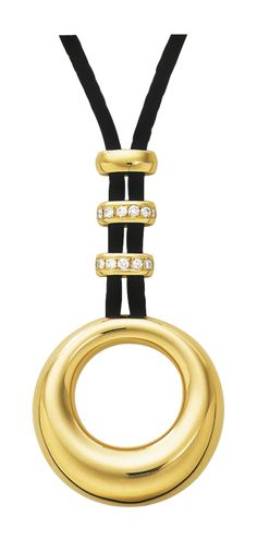 Anneau de Chaumet pendant in diamond set 18 carat yellow gold on a black satin cord. Chaumet, Paris