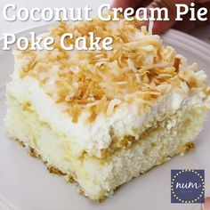 Coconut Cream Pie Poke Cake * VIDEO * Coconut Cream Pie Poke Cake is a traditional cake filled with my favorite filling of old-fashioned coconut cream cake, whipped cream and roasted coconut. The best from both worlds! Coconut Poke Cakes, Coconut Desserts, Coconut Recipes, Fun Desserts, Delicious Desserts, Coconut Cream Dessert, Cream Pie, Whipped Cream, Lemon Cream