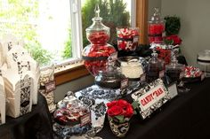Chick's Candy Buffet :  wedding black candy bar candy buffet damask red wedding white C4 THOMSON 188