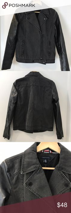 Tommy Hilfiger Pleather-Denim Moto Jacket Faux-leather sleeves add an edgy touch to Tommy Hilfiger's denim moto jacket! Cotton; lining: cotton/polyester; Side pockets. Zippered with snap button. Zippers at cuffs. Charcoal color. In like new condition. Size small. Jackets & Coats