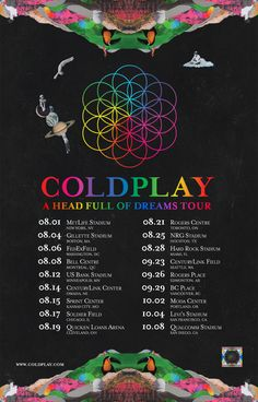 In case you missed it - 18 new AHFODtour shows confirmed for US & Canada in Aug/Sep/Oct 2017. Coldplay, October 2016