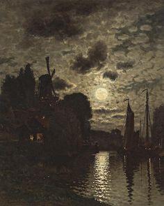 "John Joseph Enneking (American, 1841-1916) - ""Moonlit Harbor"" c.1879"