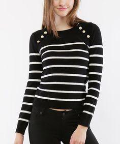 Look at this #zulilyfind! Black & White Stripe Sweater #zulilyfinds
