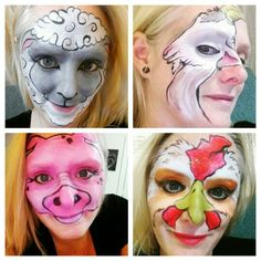 Farm animal face paint #farmanimals #goat #sheep #pig #rooster #animals