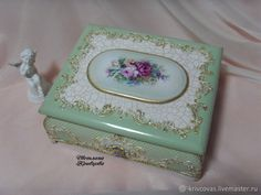 Decoupage Glass, Decoupage Box, Diy Painting, Painting On Wood, Decorative Objects, Decorative Boxes, Mermaid Crafts, Antique Boxes, Altered Boxes