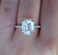 Emerald cut Sapphire Ring. Engagement Ring emerald cut 14k rose gold diamond…