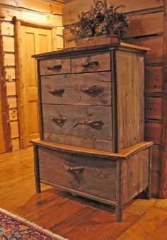 Rustic Designs by Don McAulay Jr. -  Reclaimed barn wood and live edge cherry boards make up this fine rustic dresser.