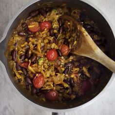 Amelia Freer's vegetarian chilli with cauliflower rice, an easy vegetarian recipe from www.redonline.co.uk