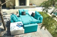 Modern Oasis Armless Chair in Sunbrella Canvas Haze in Fabric Outdoor Ottomans, Outdoor Side Table, Modern Outdoor Furniture, Outdoor Seating, Outdoor Cushions, Extra Seating, Furniture Covers, New Furniture, Modern Ottoman