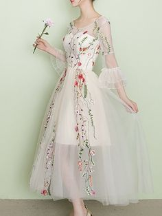 03c4d492b8a85f Stylewe Beige Maxi Dress Swing Party Dress Bell Sleeve Vintage Embroidered  Floral Dress