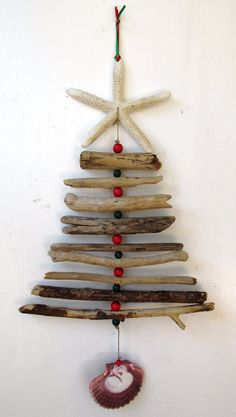 Christmas Driftwood Shell Bead Mobile Beach by PeaceLoveDriftwood
