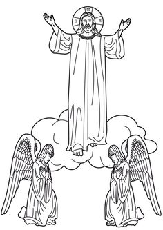 Christ's Ascension into Heaven coloring page.