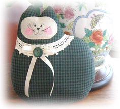 Cat Pillow Doll Cloth Doll 7 inch Dark Green by CharlotteStyle, $15.00