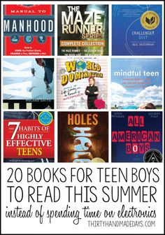20 Books for Teen Boys - Thirty Handmade Days Books books for teens Parenting Teens, Parenting Hacks, Parenting Quotes, Books For Teen Boys, Funny Books For Teens, Children Books, Self Esteem Books, Good Books, Books To Read