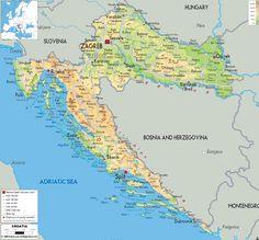 Croatia Map - Physical Map of Croatia Panama City Map, Croatia Map, Canada Images, Thousand Islands, Central Europe, Us Map, Three Dimensional, Physics, Travel Photography