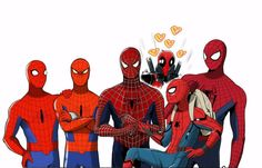 American 70's Spiderman, Japanese 70's Supaidaman, Toby Maguire Spidey, Andrew Garfield Spidey, Tom Holland Spidey, and Deadpool #Spideypool #Spiderman #Deadpool