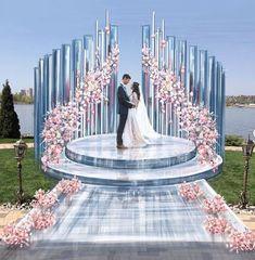 Wedding Backdrop Design, Wedding Hall Decorations, Backdrop Decorations, Wedding Centerpieces, Backdrops, Wedding Scene, Farm Wedding, Indoor Wedding Ceremonies, Wedding Ceremony