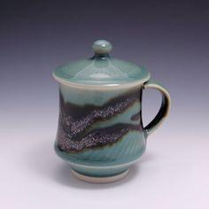 Wheelthrown Porcelain Mug with Lid Celadon Tenmoku by hsinchuen, $75.00
