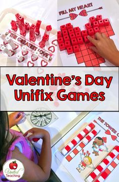 Valentine's Day Unifix Cube Game Mats >> Great for Math Centers
