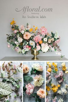 DIY Faux Flower Arrangement. Create a dramatic floral arrangement with this step-by-step guide from The Southern Table and silk flowers from Afloral.com.