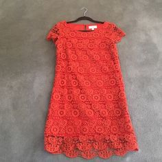 Orange lace dress from Anthropologie. Fun to wear orange lace dress. Fully lined. Falls mid thigh. Moulinette Soeurs Dresses Mini