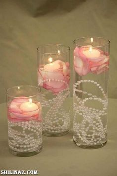 floating candles with pearls / http://www.deerpearlflowers.com/vintage-pearl-wedding-ideas/