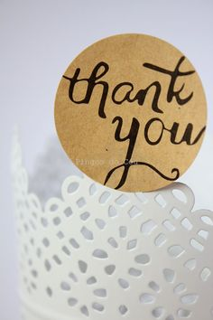 48 Thank You Stickers Round Stickers Cookie by pingosdoceu