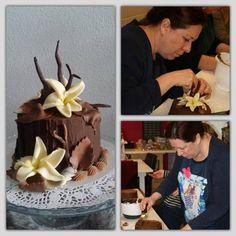 Chocolate cake and chocolate decorations.