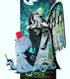 A little something squee-worthy for Dr. Who fans. This was found on the Facebook page, Brian Kesinger's Tea Girls with this caption: Don't ink, Otto!  #ottoandvictoria  #doctorwho  #mashup  #weepingangel  www.dressingyouroctopus.com  The world of Otto and Victoria is a fun place to explore. http://briankesinger.deviantart.com/gallery/39776326/otto-and-victoria