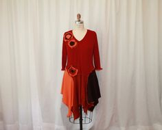 Refashioned sweaters tunic dress XL red orange brown by MilaLem, $58.00