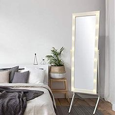 Amazon Com Ehomeproducts White Finish Led Lights Wooden Cheval Bedroom Floor Mirror Stand Hollywood S Standing Mirror Long Mirror With Lights Bedroom Flooring