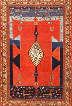 Extremely Rare Antique Caucasian Kazak Rug 48623
