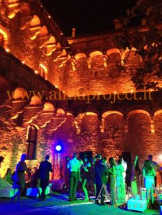 ALMA PROJECT @ Vincigliata - amber led lights courtyard uplights party wedding
