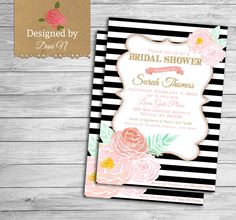New to DesignedbyDaniN on Etsy: Bridal Shower party invitation floral pink and gold bridal invite roses shabby and elegant party printable black and white stripes (15.00 USD)