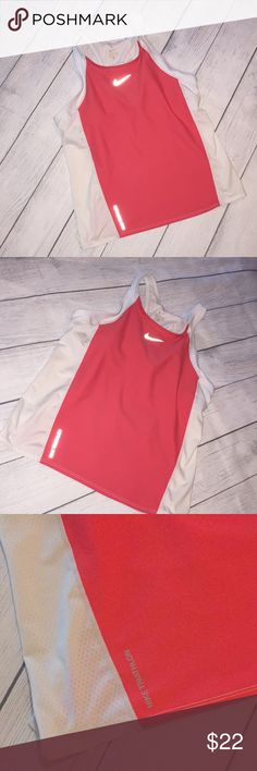Nike Triathlon Women XL Workout Top racer back Nike racer back top  Ink is washed out from tag from washing but size is xl Bra built inside  Pockets on back Mesh material on sides  Color is coral orange and white Nike Tops Tank Tops