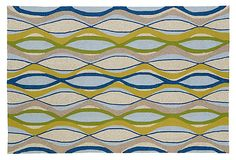 Barbara Outdoor Rug, Sky/Multi on OneKingsLane.com