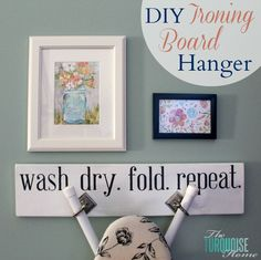 This easy DIY tutorial will show you how to create your own custom ironing board hanger. It's the perfect way to make your laundry room cute without losing function! After this week, y'all are g. Diy Projects To Try, Home Projects, Project Ideas, Ironing Board Hanger, Ironing Boards, Laundry Room Inspiration, Picture Hangers, Handmade Christmas Gifts, Silhouette Projects