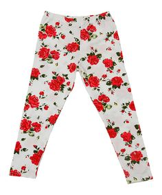 Look at this Designer Kidz Red Floral Leggings - Toddler & Girls on #zulily today!