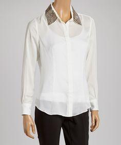 Another great find on #zulily! White Stud Collar Button-Up #zulilyfinds