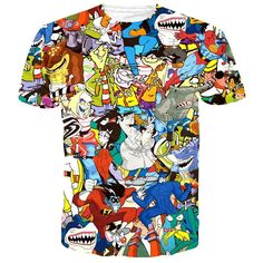 - Details - Sizing Embrace your childhood with this adorable 90's cartoon collage print tee! It's covered with your favorite characters from Ed Edd n Eddy, Street Sharks, Inspector Gadget and more! St