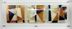 Glas aan de muur: 'One way wind', 120x40x5 cm #glaskunst #design #kunst #glasfusing #glassart #wall art #fused glass
