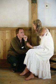 "pickledelephant: "" Uma Thurman and Quentin Tarantino on the set of Kill Bill: Vol. 1 (2003) """
