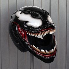 Venom Helmet -ℛℰ℘i ℕnℰD by Averson Automotive Group LLC Custom Motorcycle Helmets, Custom Helmets, Motorcycle Gear, Carnage Symbiote, Venom, Custom Motorcycles, Custom Bikes, Vrod Harley, Harley Race